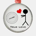Ultimate Frisbee True Love Round Metal Christmas Ornament