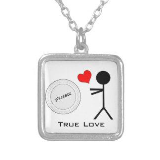 Ultimate Frisbee True Love Square Pendant Necklace