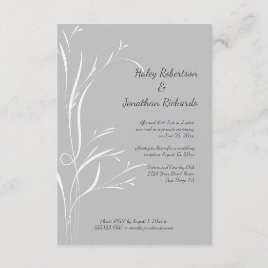 Ultimate Gray and White Wheat Stalks Reception Invitation