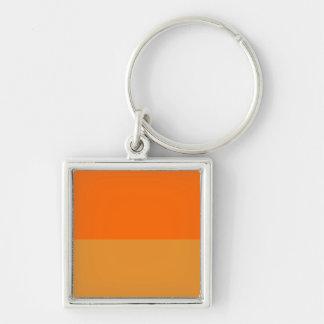 Ultimate Orange Demi-Stripe Silver-Colored Square Keychain