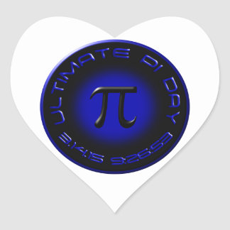 Ultimate Pi Day 2015 3.14.15 9:26:53 (blue) Heart Stickers