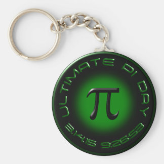 Ultimate Pi Day 2015 3.14.15 9:26:53 (green) Keychain