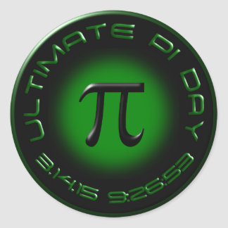 Ultimate Pi Day 2015 3.14.15 9:26:53 (green) Classic Round Sticker