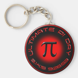 Ultimate Pi Day 2015 3.14.15 9:26:53 (red) Basic Round Button Keychain