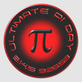 Ultimate Pi Day 2015 3.14.15 9:26:53 (red) Classic Round Sticker