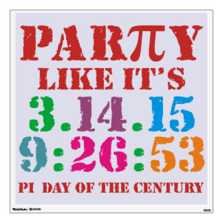 Ultimate Pi day wall decal 2015 3.14.15 9:26:53