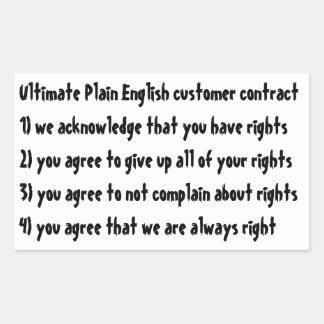Ultimate Plain English consumer contract Rectangular Sticker