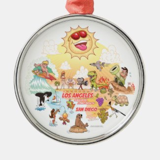 Ultimate Sunny California Round Ceramic Ornament