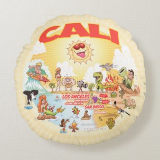 Ultimate Sunny California Round Pillow