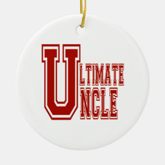 Ultimate Uncle in Off Red Ceramic Ornament