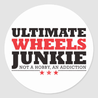 Ultimate Wheels Junkie - Red Classic Round Sticker