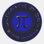 Último día 2015 del pi 3.14.15 9:26: 53 (azul) pegatina redonda