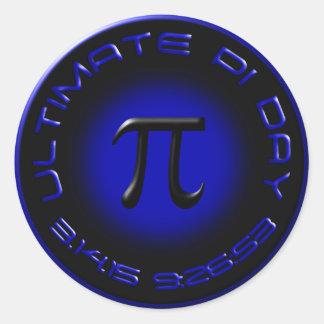 Último día 2015 del pi 3.14.15 9:26: 53 (azul) etiqueta redonda