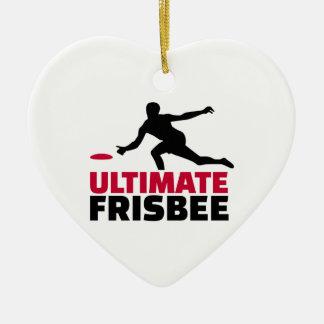 Último disco volador adorno navideño de cerámica en forma de corazón