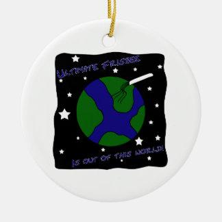 Último disco volador fuera de este mundo adorno navideño redondo de cerámica