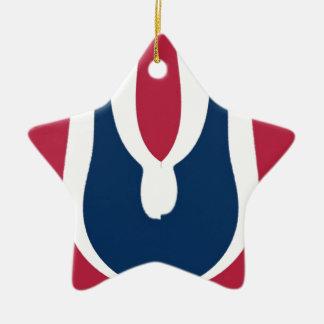 Último diseño rojo floreciente del regalo de adorno de cerámica en forma de estrella