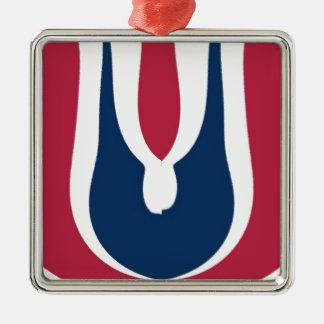 Último diseño rojo floreciente del regalo de adorno cuadrado plateado