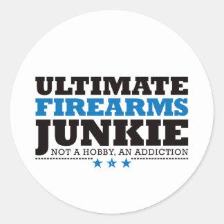 Último drogadicto de las armas de fuego - azul pegatina redonda