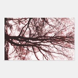 Último otoño del Central Park, rojo casi estéril Pegatina Rectangular