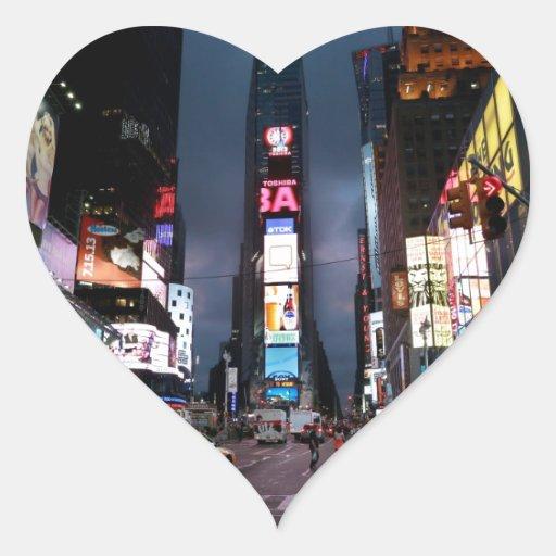 Último Times Square New York City los E.E.U.U. Pegatina De Corazon Personalizadas