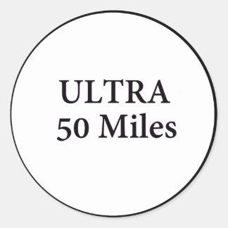 ultra 50 miles circle classic round sticker
