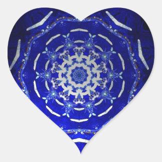 Ultra Blue Light Kaleidoscope Star Burst Heart Sticker