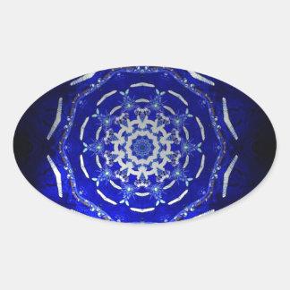 Ultra Blue Light Kaleidoscope Star Burst Oval Sticker