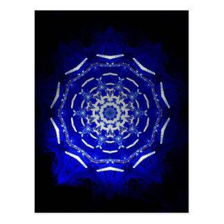 Ultra Blue Light Kaleidoscope Star Burst Postcard