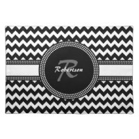 Ultra Chic Black and White ZigZag Chevron Monogram Cloth Placemat