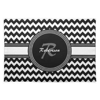 Ultra Chic Black and White ZigZag Chevron Monogram Cloth Placemat