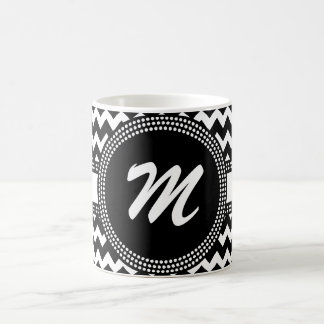 Ultra Chic Black and White ZigZag Chevron Monogram Coffee Mug