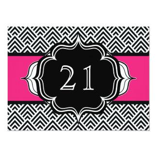 Ultra Chic Girl's 21st Birthday Modern Chevron Card