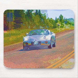 Ultra Cool Super Fast Silver Sports Car Mouse Pad