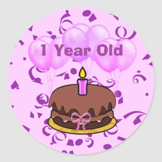 Ultra Cute 1 Years Old Birthday Cake Stickers