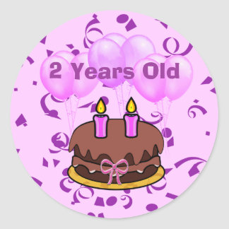 Ultra Cute 2 Years Old Birthday Cake Stickers