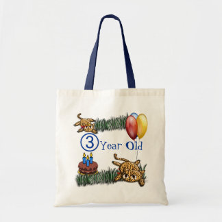 Ultra Cute 3 Year OLD Leopard Safari Birthday Tote Bag