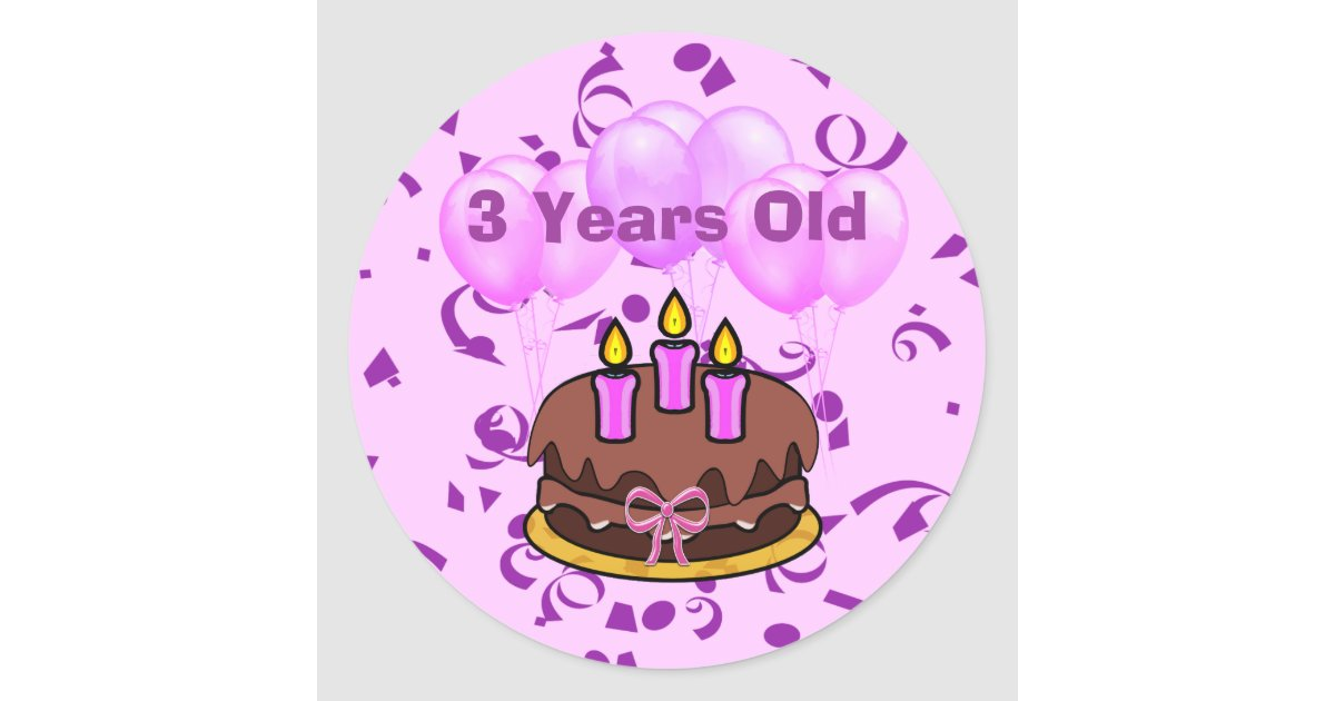 Peachy Ultra Cute 3 Years Old Birthday Cake Stickers Zazzle Com Funny Birthday Cards Online Aeocydamsfinfo