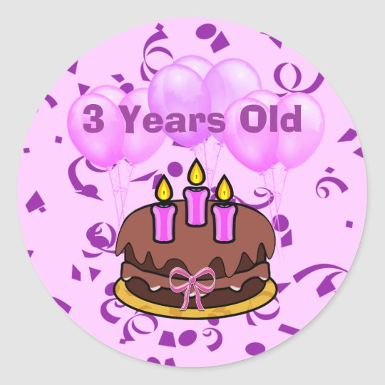 Ultra Cute 3 Years Old Birthday Cake Stickers