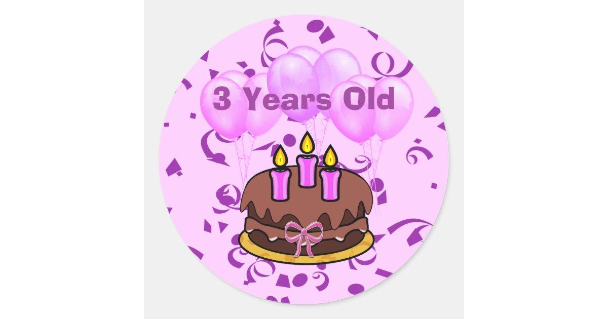 Ultra Cute 3 Years Old Birthday Cake Stickers Zazzle