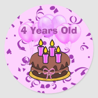 Ultra Cute 4 Years Old Birthday Cake Stickers