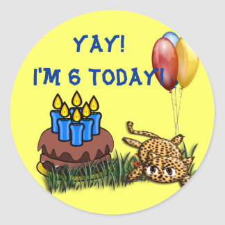 Ultra Cute 6 Year Old Leopard  Birthday Stickers