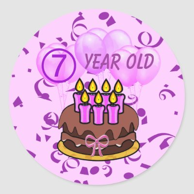 Ultra Cute 7 Year Old Birthday Cake Stickers With 7 Candles Purple and