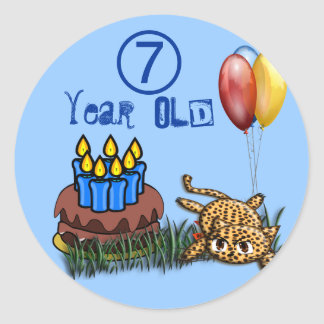 Ultra Cute 7 Year Old Leopard  Birthday Stickers
