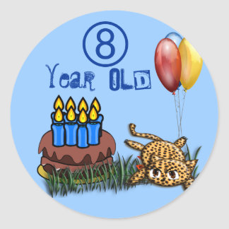 Ultra Cute 8 Year Old Leopard  Birthday Stickers