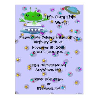 Ultra Cute Alien Birthday Invitations Postcard