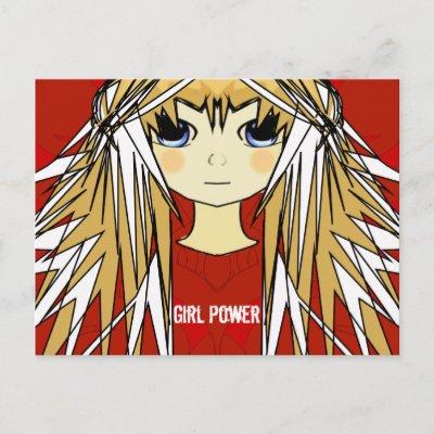 Ultra Cute Anime Blonde Long Hair Girl Power Post Cards by samack