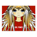 Ultra Cute Anime Blonde Long Hair Girl Power Postcard
