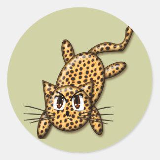 Ultra Cute Anime Leopard Kitty Classic Round Sticker