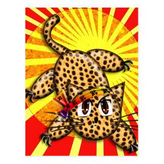 Ultra Cute Anime Leopard Kitty Rainbow Head Band Postcard