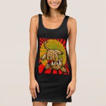 Ultra Cute Anime Leopard Kitty Rainbow Head Band Sleeveless Dress